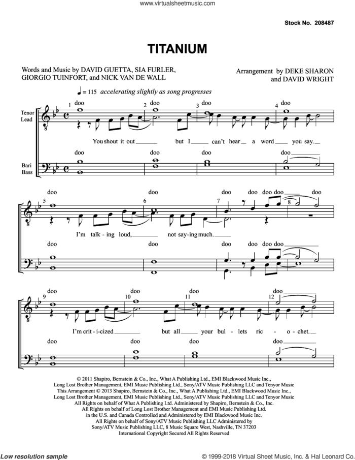 Titanium (feat. Sia) (arr. Deke Sharon, David Wright) sheet music for choir (TTBB: tenor, bass) by David Guetta, Deke Sharon, David Wright, Giorgio Tuinfort, Nick van de Wall and Sia Furler, intermediate skill level
