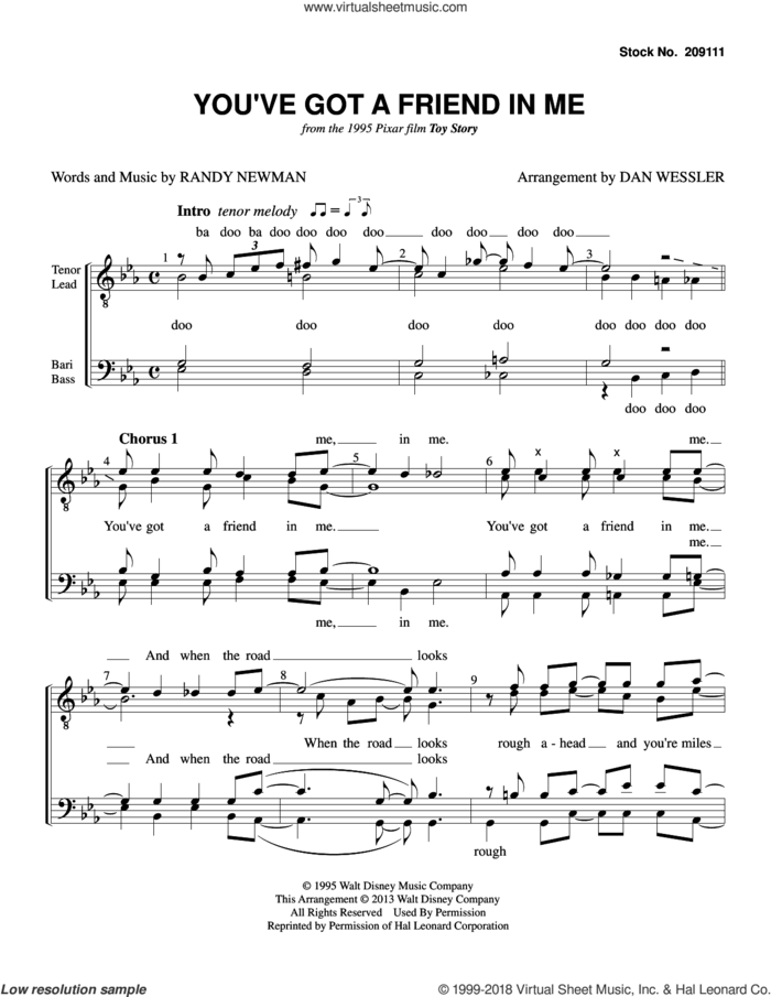 You've Got A Friend In Me (from Toy Story) (arr. Dan Wessler) sheet music for choir (TTBB: tenor, bass) by Randy Newman and Dan Wessler, intermediate skill level