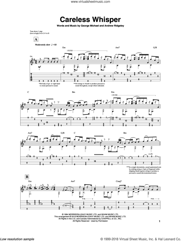 Careless Whisper sheet music for guitar (tablature) by Igor Presnyakov, Seether, Wham! featuring George Michael, Andrew Ridgeley and George Michael, intermediate skill level