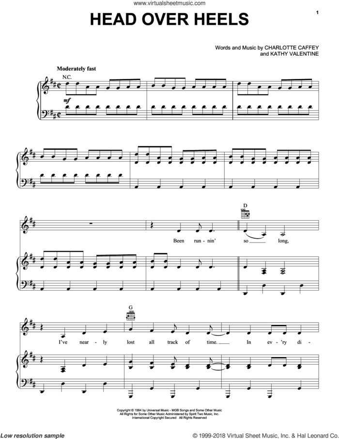 Head Over Heels sheet music for voice, piano or guitar by The Go-Go's, Charlotte Caffey and Kathy Valentine, intermediate skill level