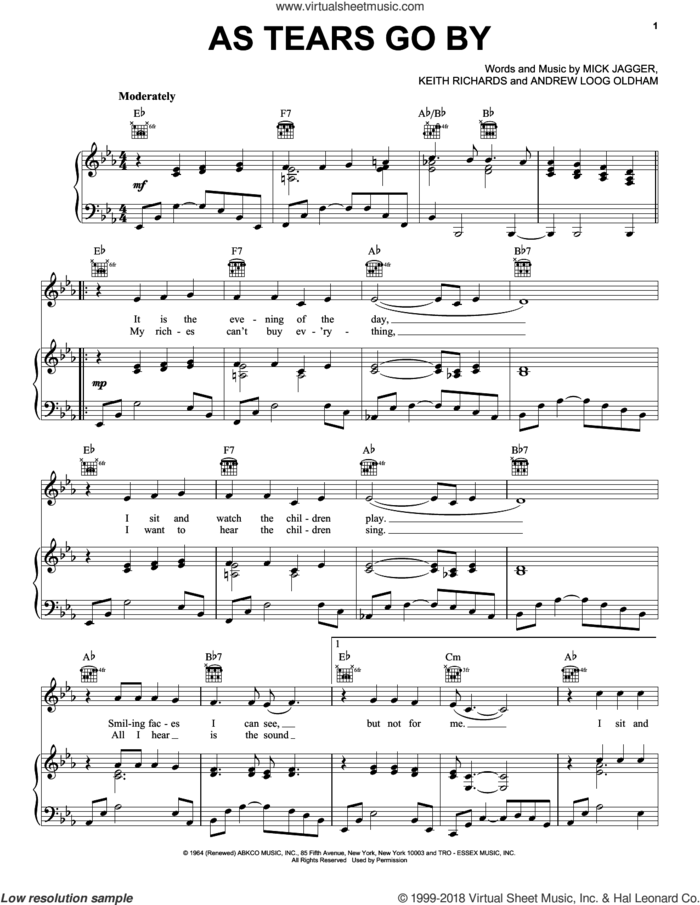 As Tears Go By sheet music for voice, piano or guitar by Marianne Faithfull, The Rolling Stones, Andrew Loog Oldham, Keith Richard and Mick Jagger, intermediate skill level