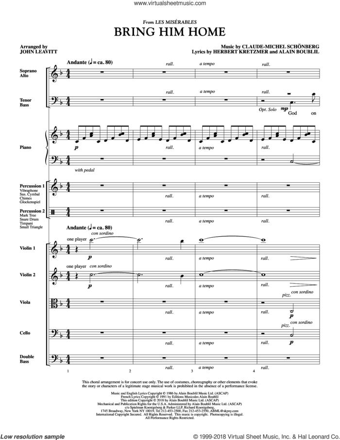 Bring Him Home (COMPLETE) sheet music for orchestra/band by Boublil & Schonberg, Alain Boublil, Claude-Michel Schonberg, Herbert Kretzmer and John Leavitt, intermediate skill level