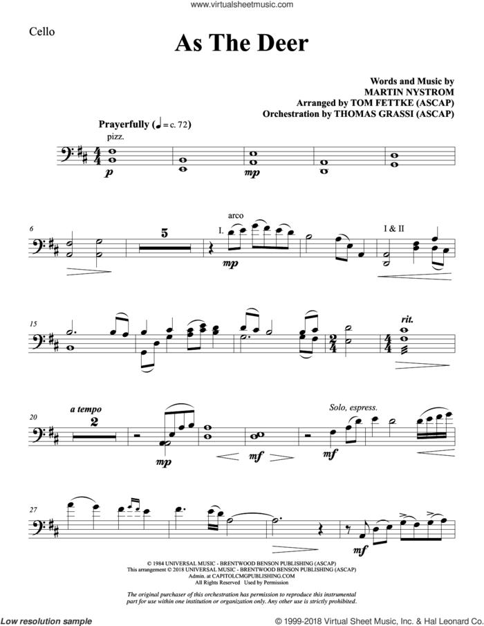 As the Deer (arr. Tom Fettke) sheet music for orchestra/band (cello) by Martin Nystrom and Tom Fettke, intermediate skill level