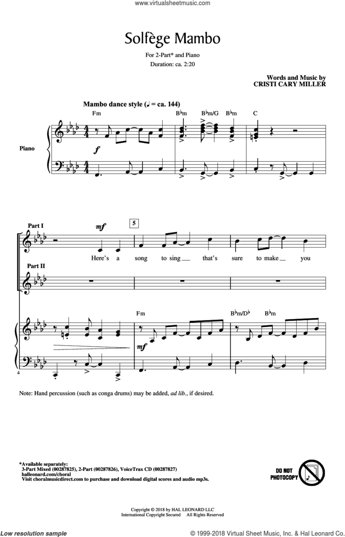 Solfege Mambo sheet music for choir (2-Part) by Cristi Cary Miller, intermediate duet
