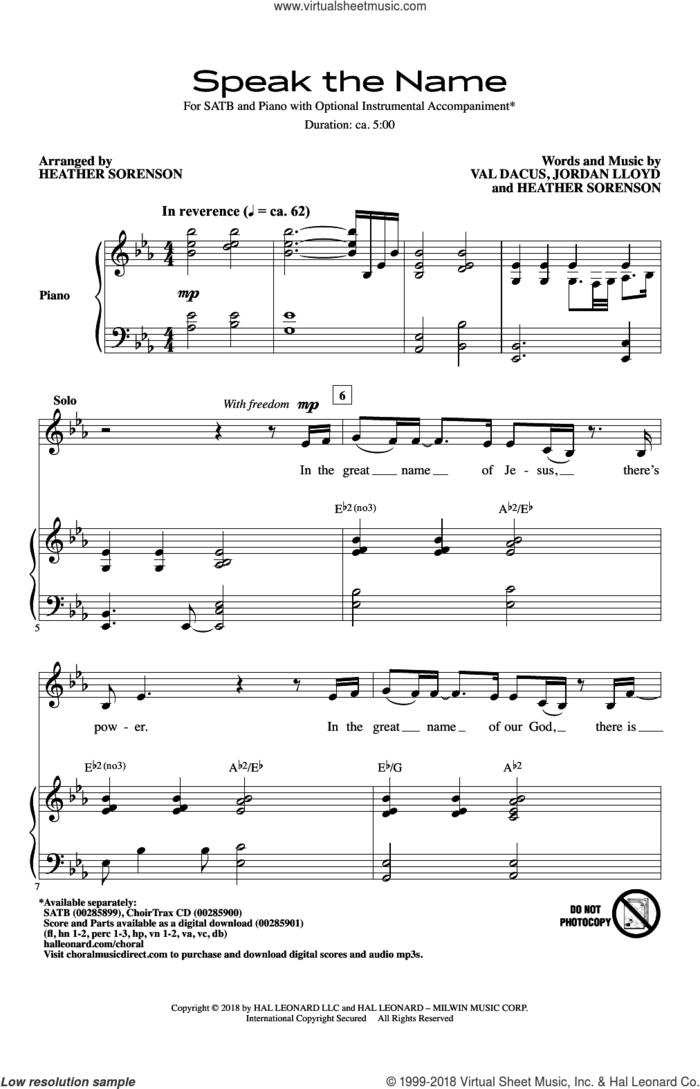Speak The Name sheet music for choir (SATB: soprano, alto, tenor, bass) by Heather Sorenson, Jordan Lloyd and Val Dacus, intermediate skill level