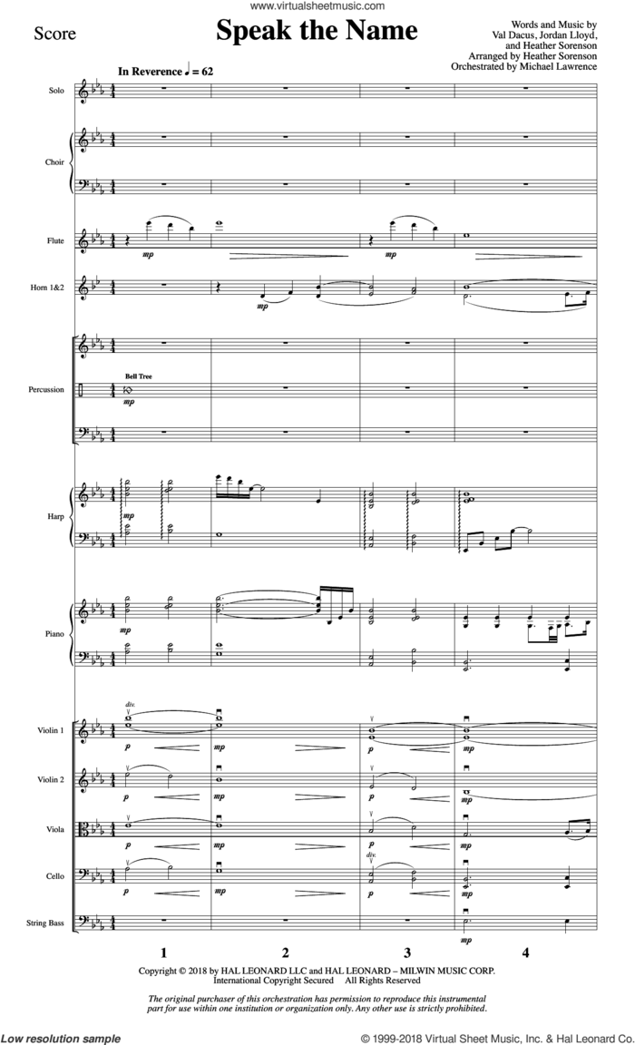 Speak the Name (COMPLETE) sheet music for orchestra/band by Heather Sorenson, Jordan Lloyd and Val Dacus, intermediate skill level