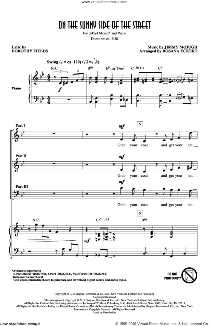 On The Sunny Side Of The Street (arr. Rosana Eckert) sheet music for choir (3-Part Mixed) by Dorothy Fields, Rosana Eckert and Jimmy McHugh, intermediate skill level