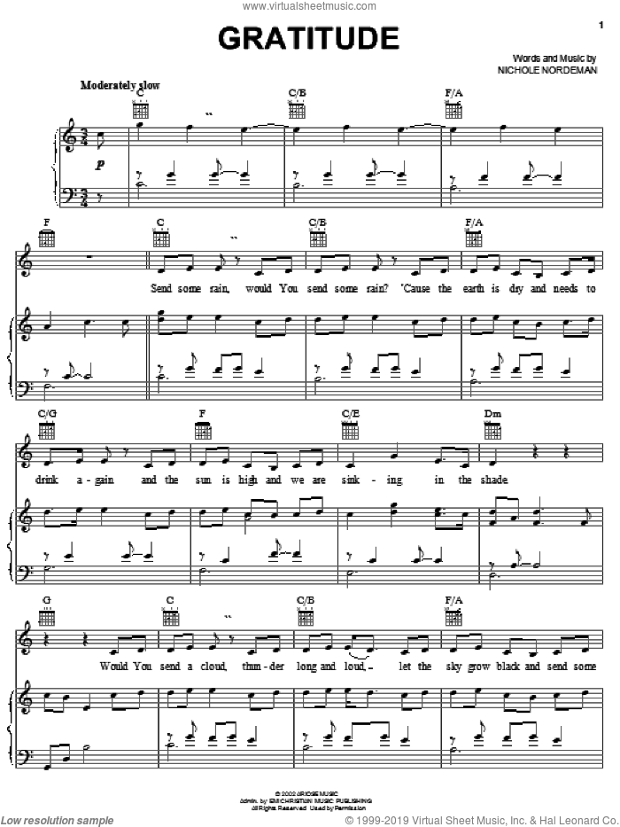 Gratitude sheet music for voice, piano or guitar by Nichole Nordeman, intermediate skill level