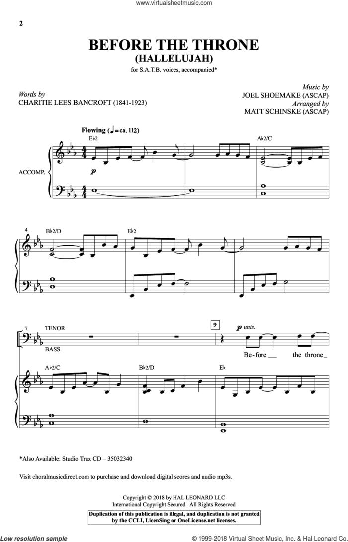 Before The Throne (Hallelujah) (arr. Matt Schinske) sheet music for choir (SATB: soprano, alto, tenor, bass) by Joel Shoemake, Matt Schinske and Charitie Lees Bancroft, intermediate skill level