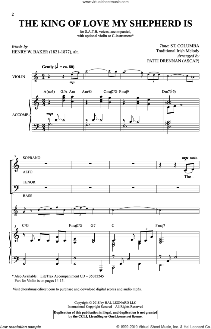 The King Of Love My Shepherd Is (arr. Patti Drennan) sheet music for choir (SATB: soprano, alto, tenor, bass) by Henry W. Baker and Patti Drennan, intermediate skill level