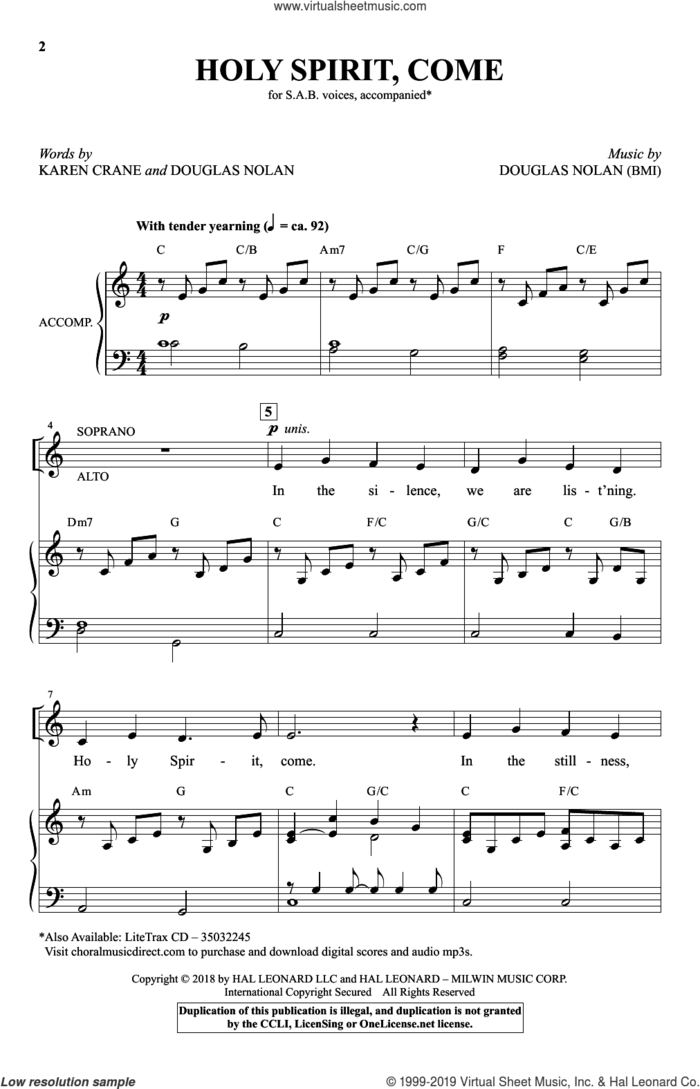 Holy Spirit, Come sheet music for choir (SAB: soprano, alto, bass) by Douglas Nolan and Karen Crane, intermediate skill level