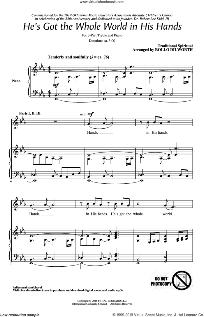 He's Got The Whole World In His Hands (arr. Rollo Dilworth) sheet music for choir (3-Part Treble)  and Rollo Dilworth, intermediate skill level