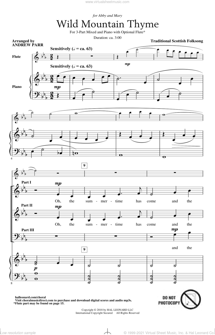 Wild Mountain Thyme (arr. Andrew Parr) sheet music for choir (3-Part Mixed) by Traditional Scottish Folk Song and Andrew Parr, intermediate skill level