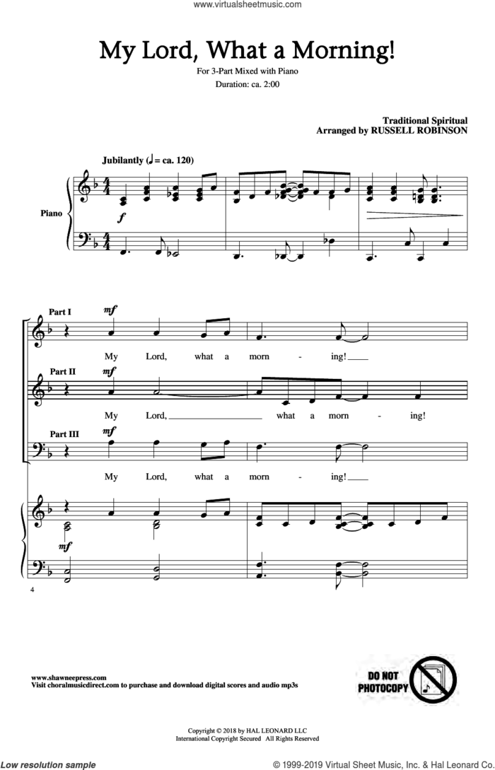 My Lord, What A Morning (arr. Russell Robinson) sheet music for choir (3-Part Mixed)  and Russell Robinson, intermediate skill level