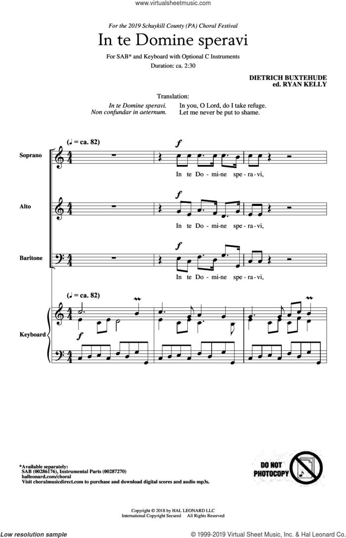 In Te Domine Speravi (ed. Ryan Kelly) sheet music for choir (SAB: soprano, alto, bass) by Dietrich Buxtehude and Ryan Kelly, intermediate skill level
