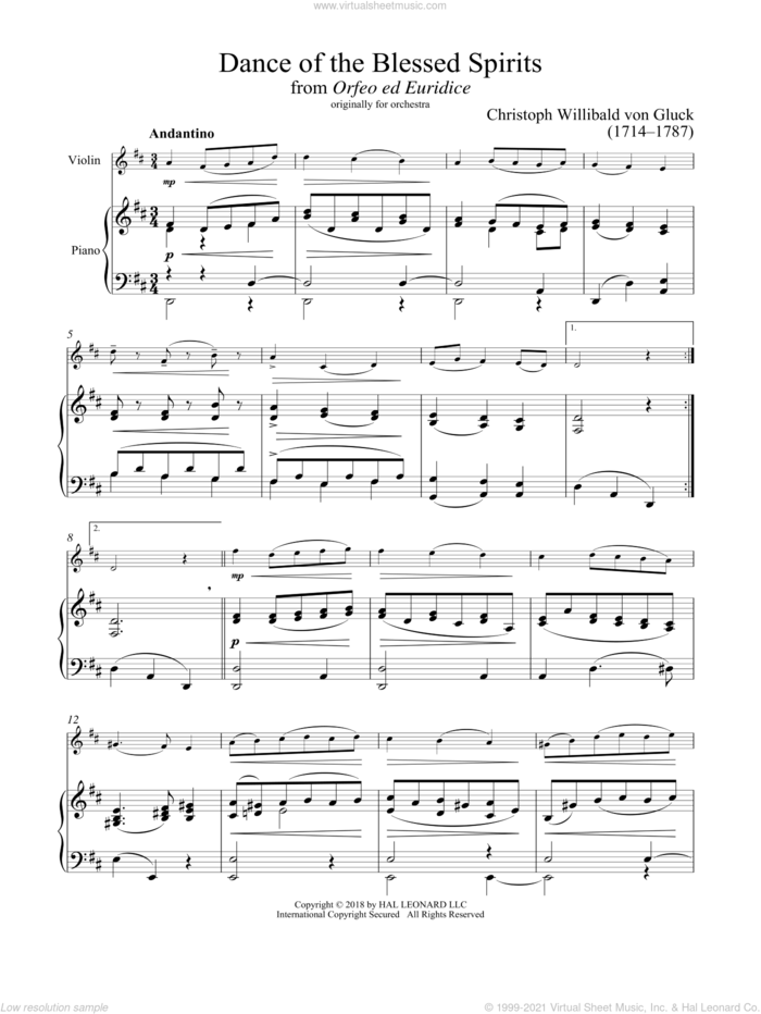 Dance Of The Spirits sheet music for violin and piano by Christoph Willibald Gluck, classical score, intermediate skill level