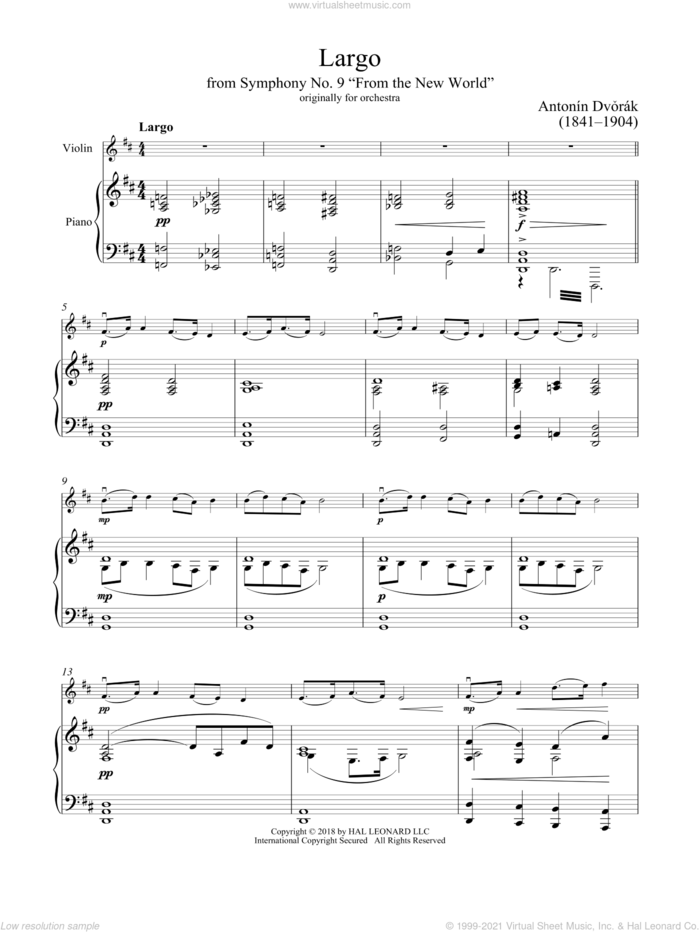 Largo From Symphony No. 9 ('New World') sheet music for violin and piano by Antonin Dvorak and Antonin Dvorak, classical score, intermediate skill level