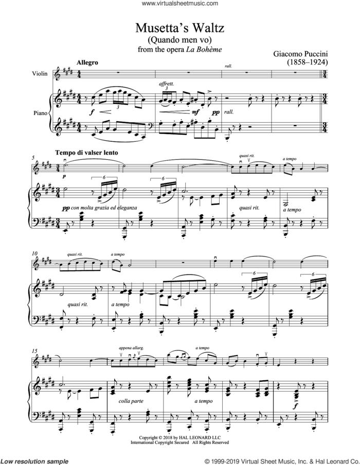Quando Men Vo sheet music for violin and piano by Giacomo Puccini, classical score, intermediate skill level
