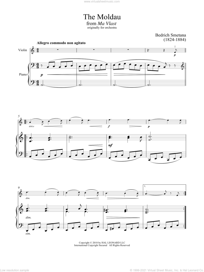 The Moldau sheet music for violin and piano by Bedrich Smetana, classical score, intermediate skill level