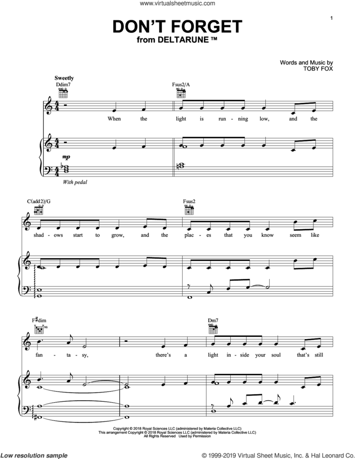 Don't Forget (From Deltarune) sheet music for piano solo by Toby Fox, intermediate skill level