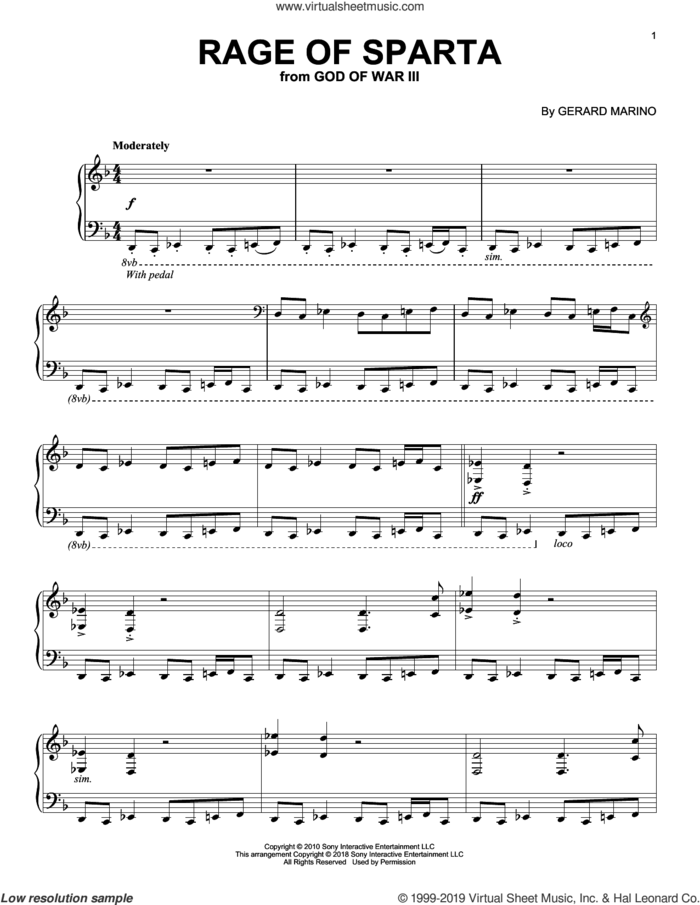Rage Of Sparta (from God of War III) sheet music for piano solo by Gerard Marino, intermediate skill level