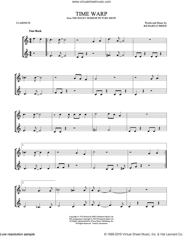 Time Warp sheet music for two clarinets (duets) by Richard O'Brien, intermediate skill level