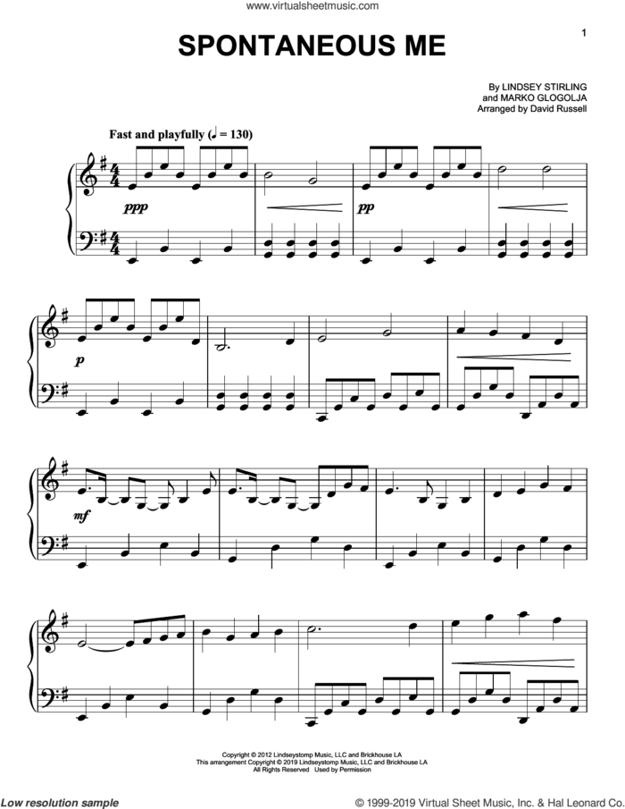 Spontaneous Me sheet music for piano solo by Lindsey Stirling and Marko Glogolja, easy skill level