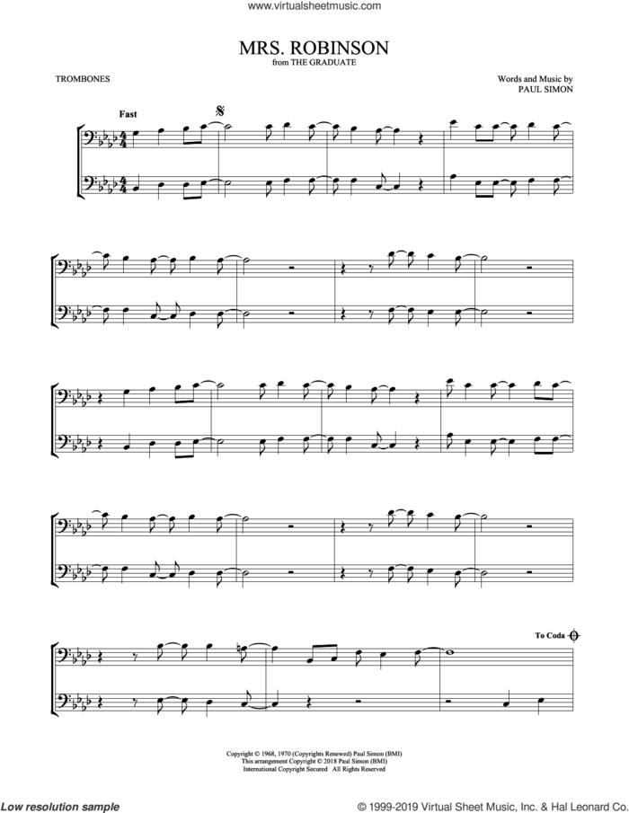 Mrs. Robinson sheet music for two trombones (duet, duets) by Simon & Garfunkel and Paul Simon, intermediate skill level