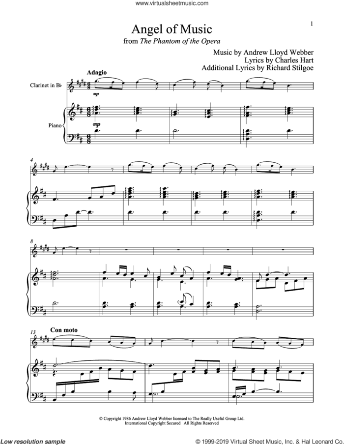 Angel Of Music (from The Phantom of The Opera) sheet music for clarinet and piano by Andrew Lloyd Webber, Charles Hart and Richard Stilgoe, intermediate skill level