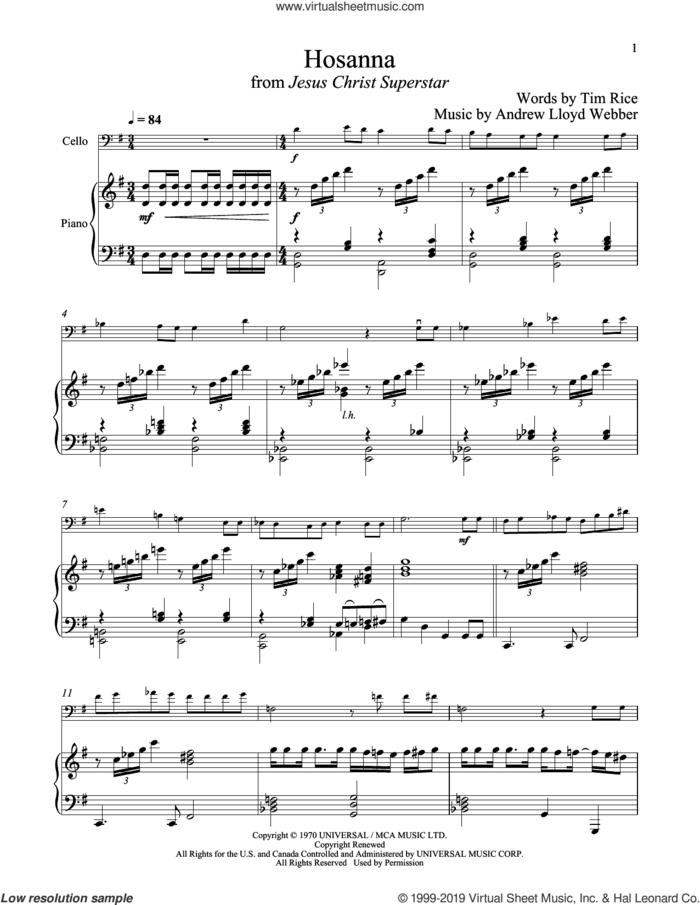 Hosanna (from Jesus Christ Superstar) sheet music for cello and piano by Andrew Lloyd Webber and Tim Rice, intermediate skill level