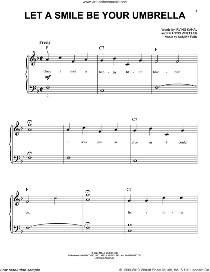 Let A Smile Be Your Umbrella sheet music for piano solo by Irving Kahal, Francis Wheeler and Sammy Fain, easy skill level