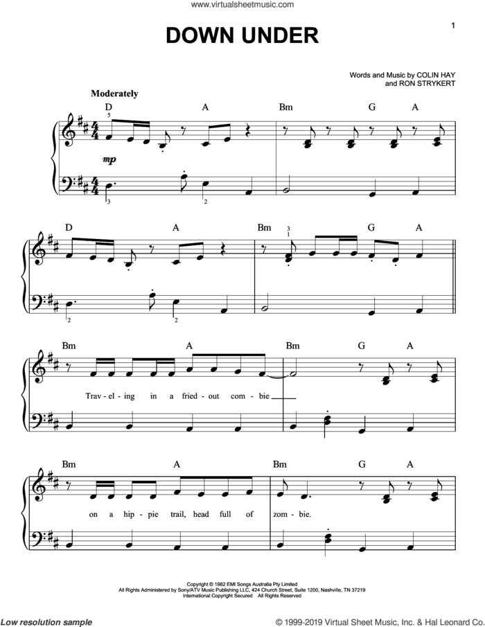 Down Under sheet music for piano solo by Men At Work, Colin Hay and Ron Strykert, easy skill level