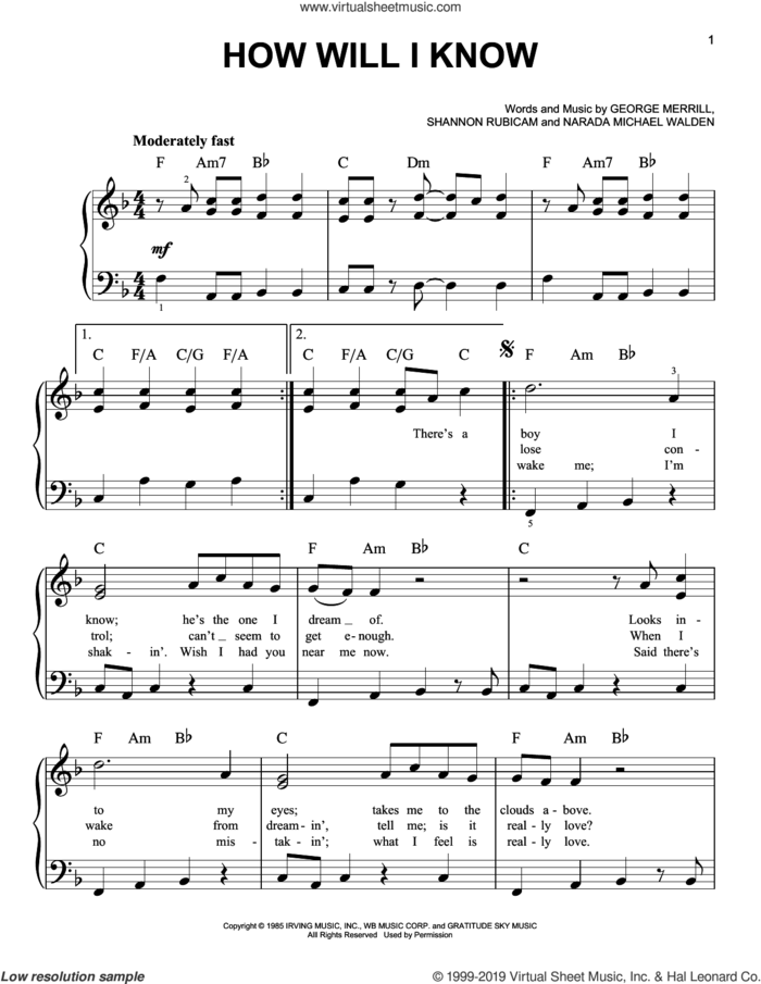 How Will I Know sheet music for piano solo by Whitney Houston, George Merrill, Narada Michael Walden and Shannon Rubicam, easy skill level