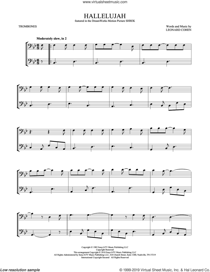 Hallelujah sheet music for two trombones (duet, duets) by Leonard Cohen, intermediate skill level