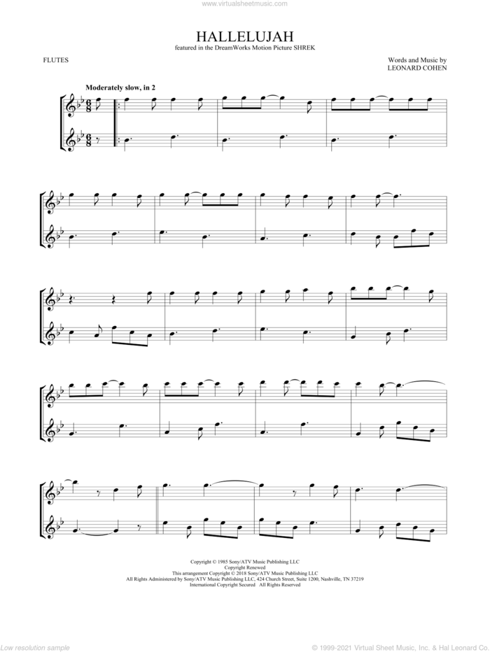 Hallelujah sheet music for two flutes (duets) by Leonard Cohen, intermediate skill level