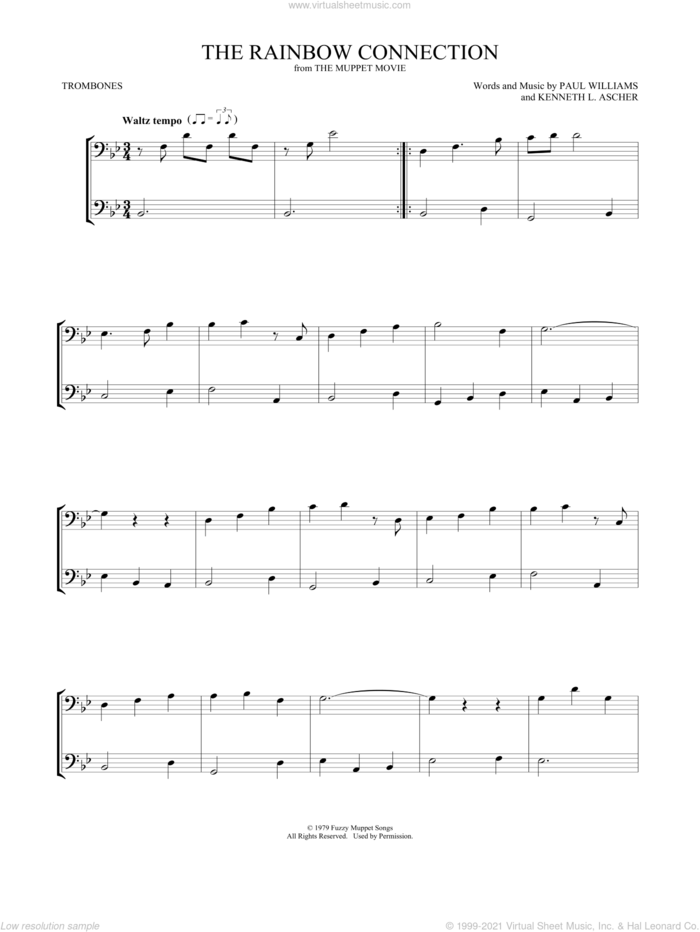 The Rainbow Connection sheet music for two trombones (duet, duets) by Paul Williams and Kenneth L. Ascher, intermediate skill level