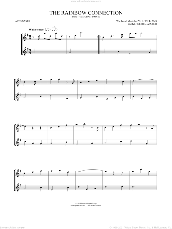The Rainbow Connection sheet music for two alto saxophones (duets) by Paul Williams and Kenneth L. Ascher, intermediate skill level