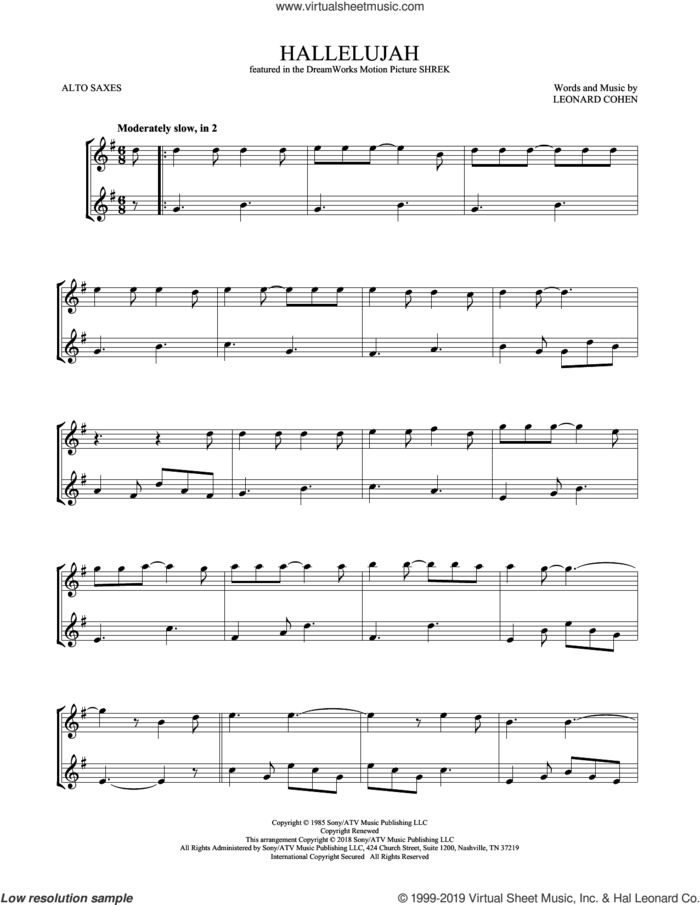 Hallelujah sheet music for two alto saxophones (duets) by Leonard Cohen, intermediate skill level