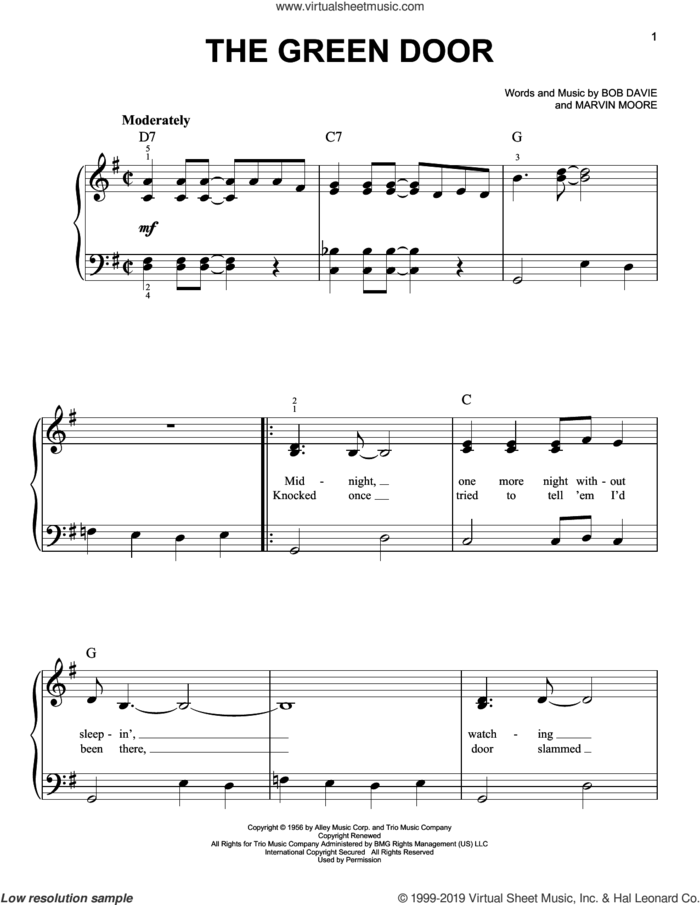 The Green Door sheet music for piano solo by Jim Lowe, Bob Davie and Marvin Moore, easy skill level