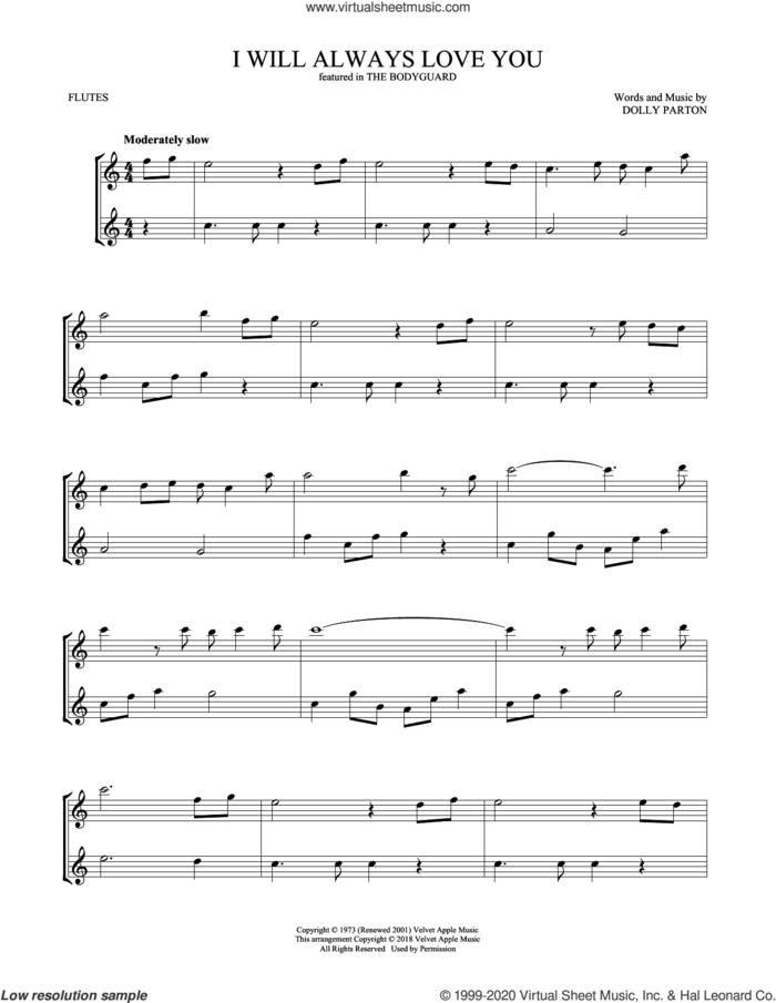I Will Always Love You sheet music for two flutes (duets) by Whitney Houston and Dolly Parton, intermediate skill level