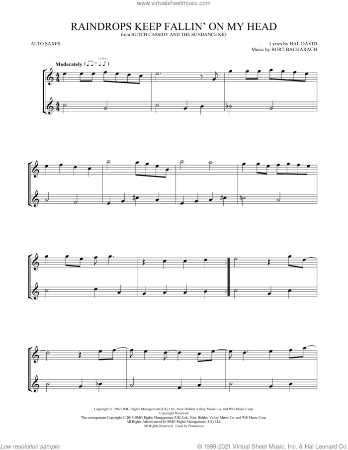 Raindrops Keep Fallin' On My Head sheet music for two alto saxophones (duets) by B.J. Thomas, Burt Bacharach and Hal David, intermediate skill level