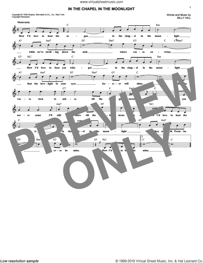 In The Chapel In The Moonlight sheet music for voice and other instruments (fake book) by Billy Hill, wedding score, intermediate skill level