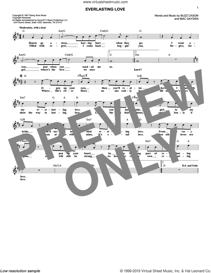 Everlasting Love sheet music for voice and other instruments (fake book) by Gloria Estefan, Buzz Cason and Mac Gayden, wedding score, intermediate skill level