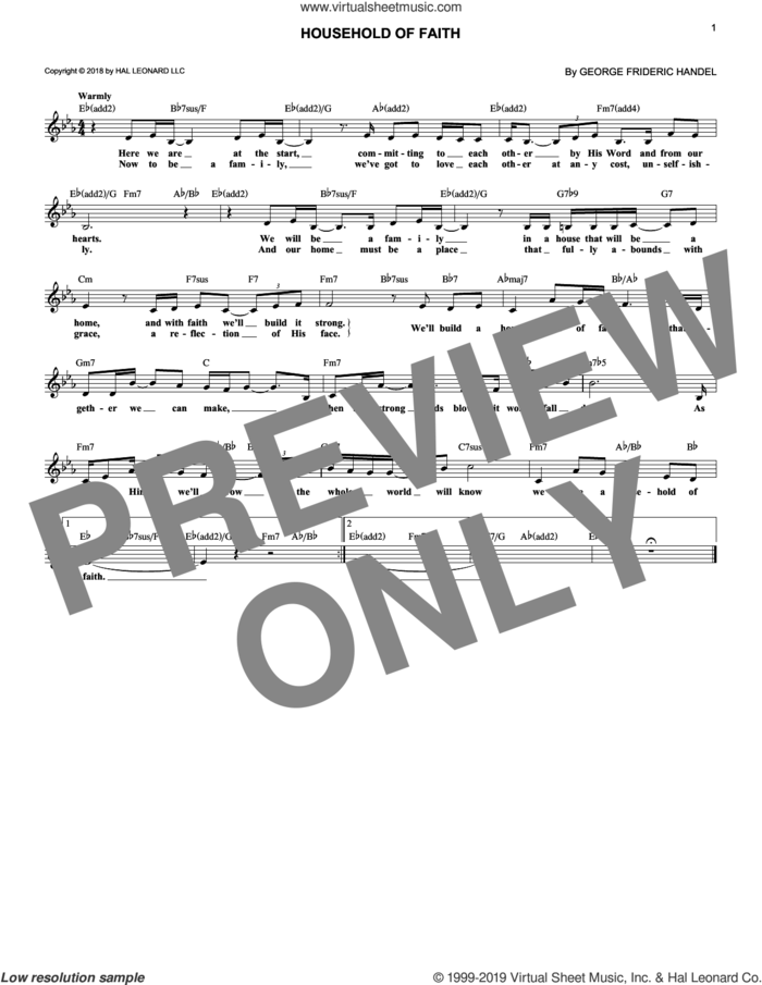 Household Of Faith sheet music for voice and other instruments (fake book) by Brent Lamb and John Rosasco, wedding score, intermediate skill level