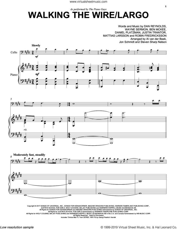 Walking The Wire / Largo sheet music for cello and piano by The Piano Guys, Imagine Dragons, Ben McKee, Dan Reynolds, Daniel Platzman, Justin Tranter, Mattias Larsson, Robin Fredriksson and Wayne Sermon, intermediate skill level