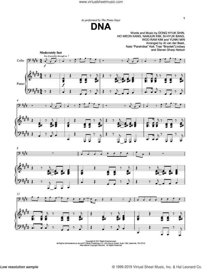 DNA sheet music for cello and piano by The Piano Guys, BTS, Dong Hyuk Shin, Ho Weon Kang, Namjun Kim, Si-Hyuk Bang, Woo Ram Kim and Yunki Min, intermediate skill level