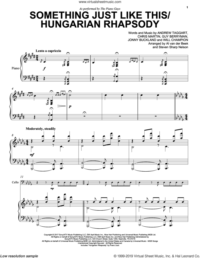 Something Just Like This / Hungarian Rhapsody sheet music for cello and piano by The Piano Guys, The Chainsmokers & Coldplay, Andrew Taggart, Chris Martin, Guy Berryman, Jonny Buckland and Will Champion, intermediate skill level