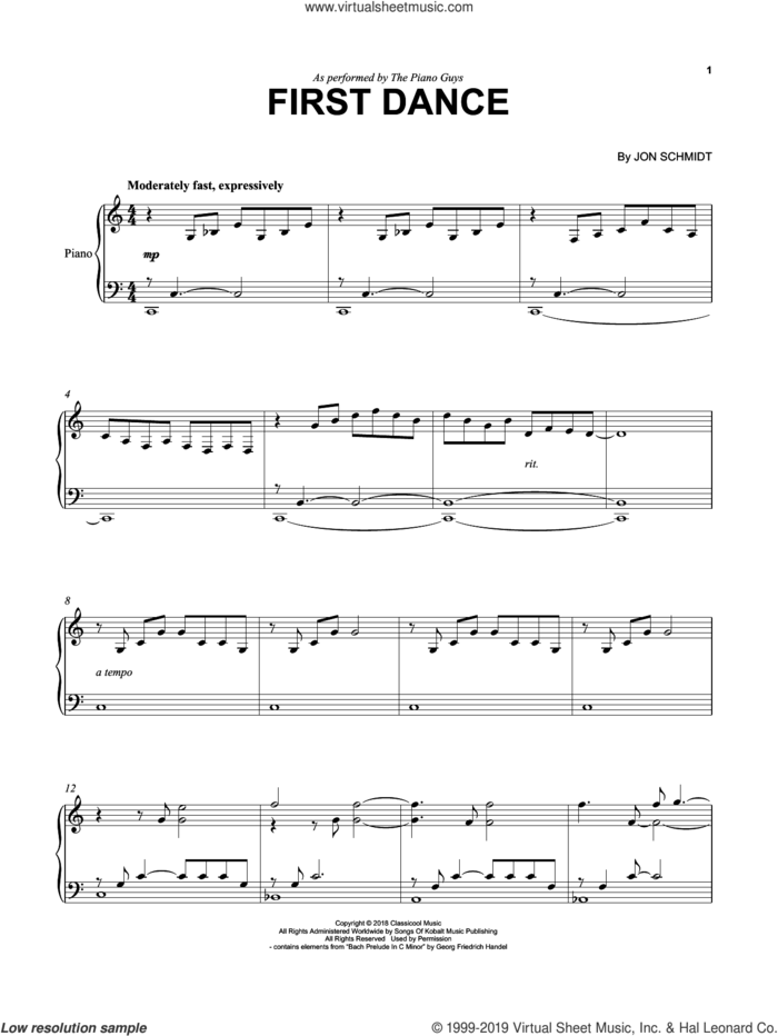 First Dance sheet music for cello and piano by The Piano Guys and Jon Schmidt, intermediate skill level