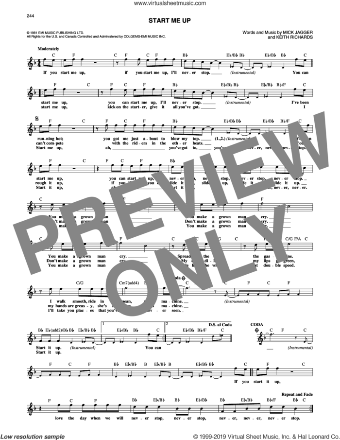 Start Me Up sheet music for voice and other instruments (fake book) by The Rolling Stones, Keith Richards and Mick Jagger, intermediate skill level