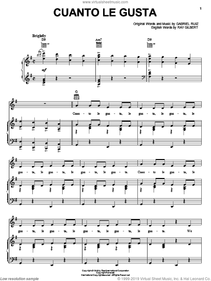 Cuanto Le Gusta sheet music for voice, piano or guitar by The Andrews Sisters, Carmen Miranda, Gabriel Ruiz and Ray Gilbert, intermediate skill level